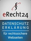 Unsere Datenschutzerklärung ist rechtssicher [by eRecht24]